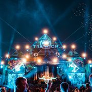 Stage on festival with lasers